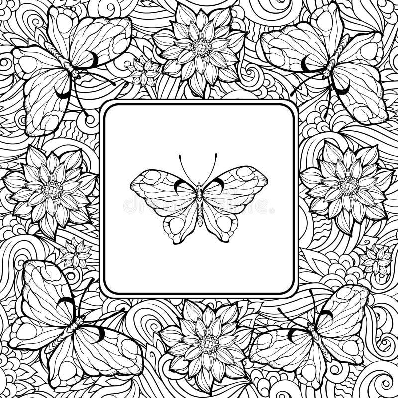Χρωματίζοντας σελίδα με την πεταλούδα στο κέντρο και το σχέδιο του λουλουδιού ελεύθερη απεικόνιση δικαιώματος