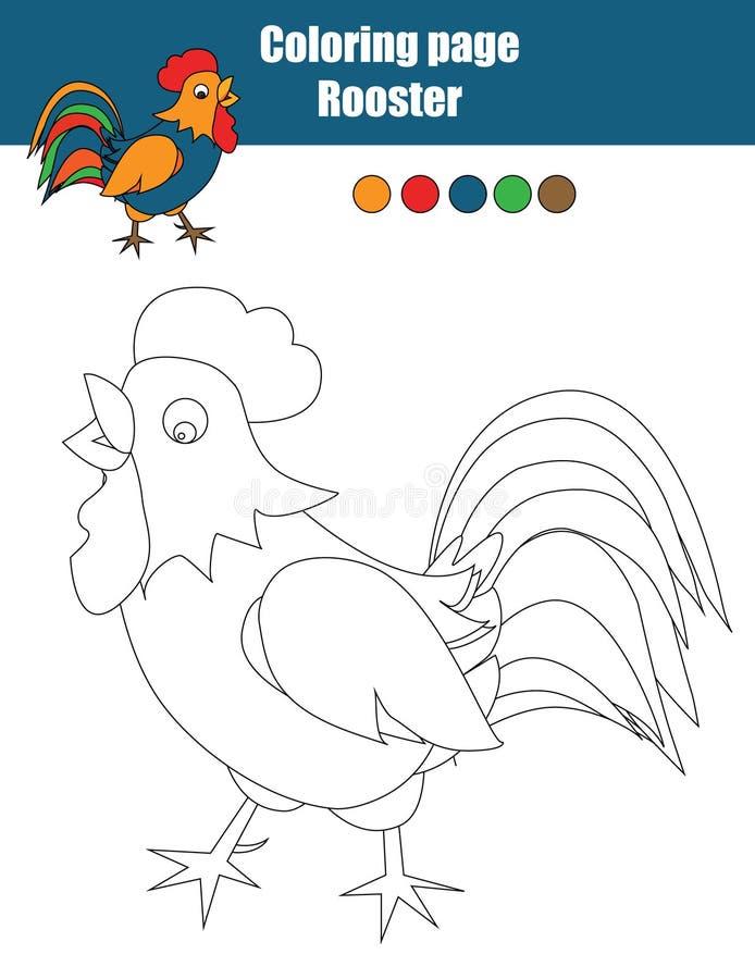 Χρωματίζοντας σελίδα με τον κόκκορα Εκπαιδευτικό παιχνίδι, που σύρει τη δραστηριότητα παιδιών διανυσματική απεικόνιση