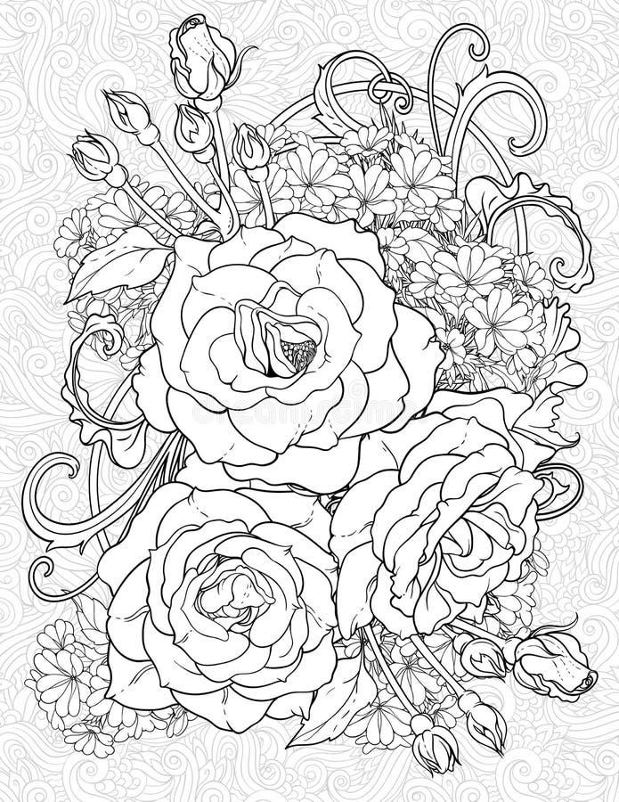 Χρωματίζοντας σελίδα με τρία τριαντάφυλλα ελεύθερη απεικόνιση δικαιώματος