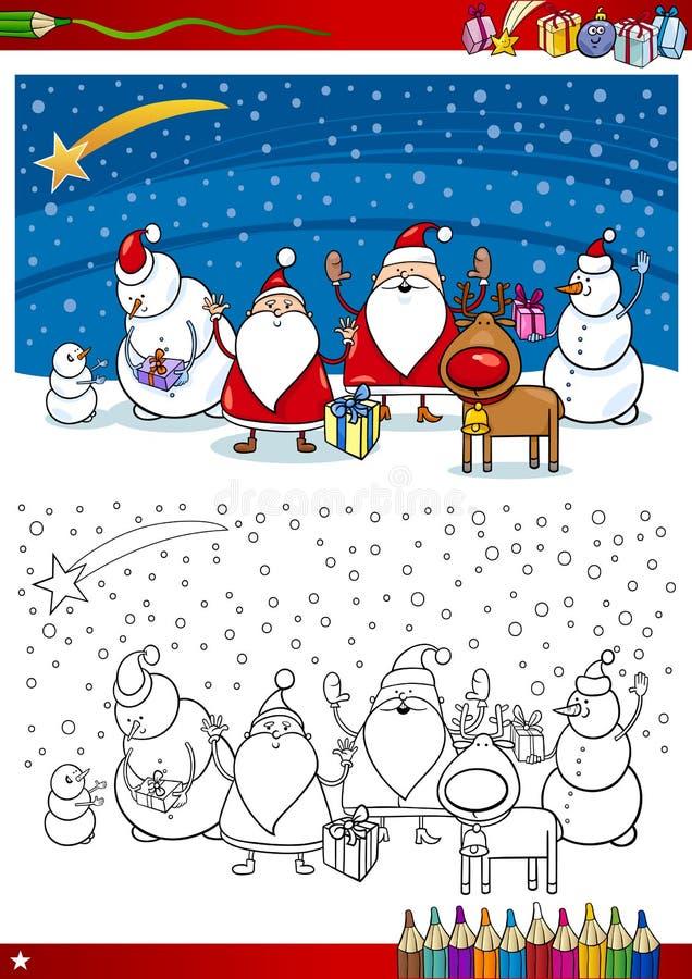 Χρωματίζοντας σελίδα ομάδας Άγιου Βασίλη ελεύθερη απεικόνιση δικαιώματος