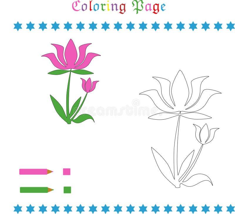Χρωματίζοντας σελίδα λουλουδιών ελεύθερη απεικόνιση δικαιώματος