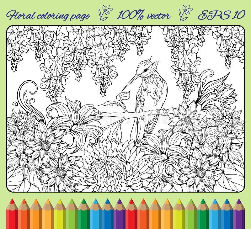 Χρωματίζοντας σελίδα του πουλιού σε έναν κλάδο στον κήπο απεικόνιση αποθεμάτων