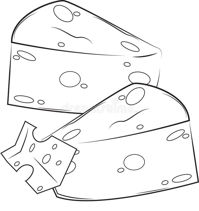 Χρωματίζοντας σελίδα τυριών διανυσματική απεικόνιση