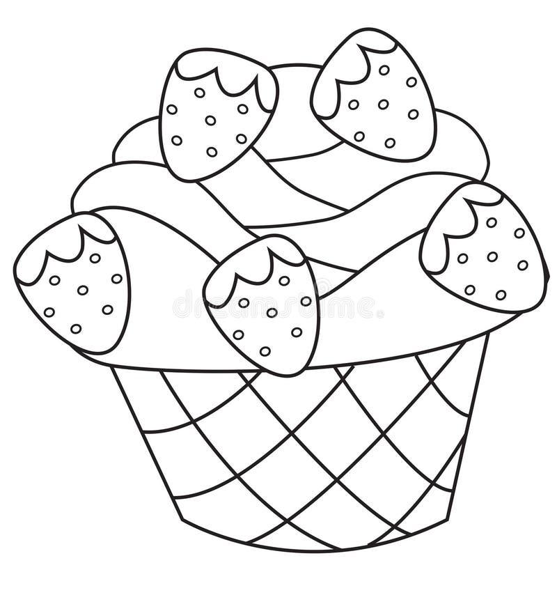 Χρωματίζοντας σελίδα φραουλών cupcake διανυσματική απεικόνιση
