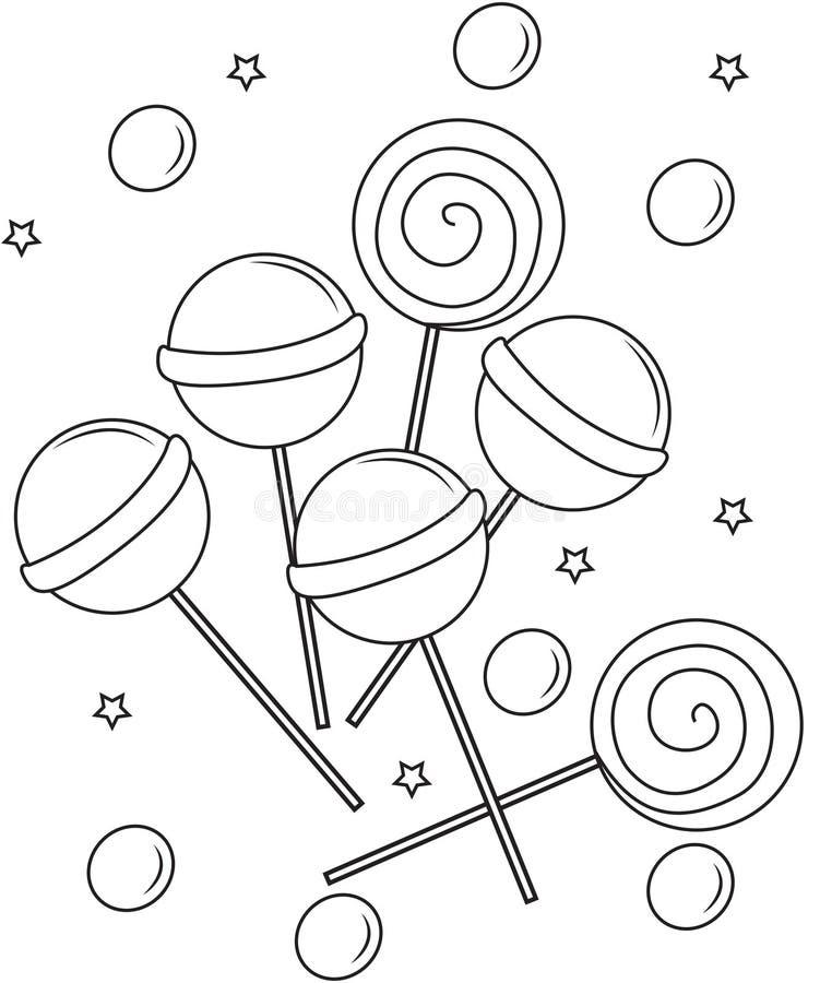 Χρωματίζοντας σελίδα Lollipops διανυσματική απεικόνιση