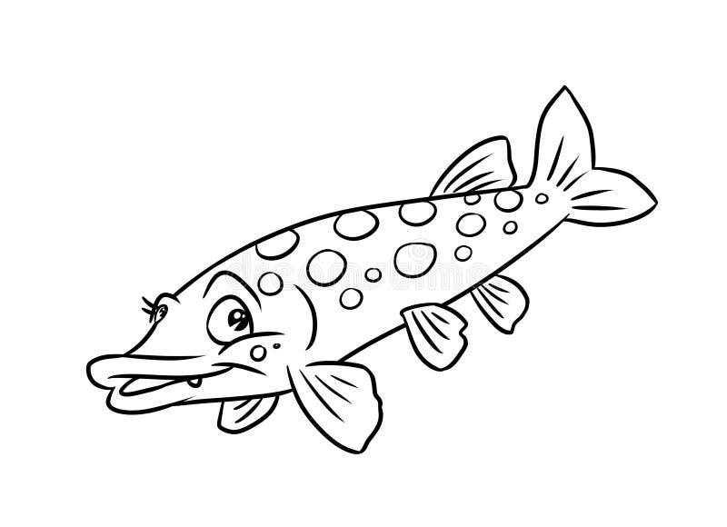 Χρωματίζοντας σελίδες απεικόνισης ψαριών λούτσων διανυσματική απεικόνιση