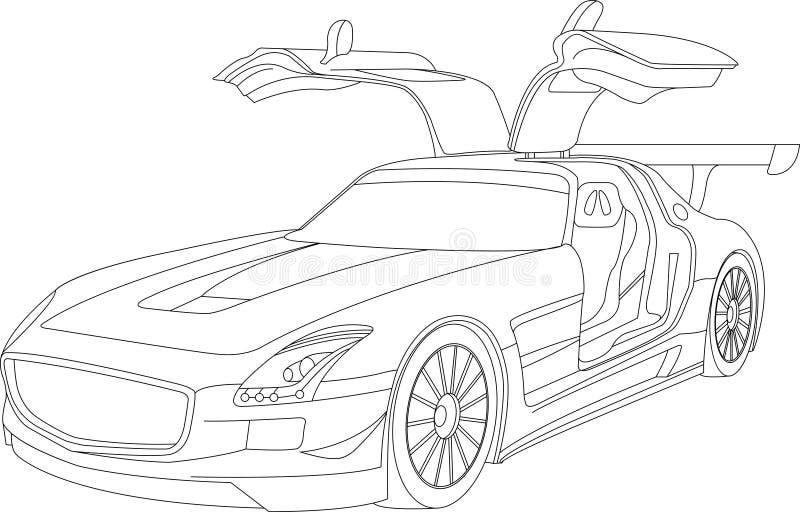 Χρωματίζοντας σελίδες για τα αυτοκίνητα παιδιών διανυσματική απεικόνιση