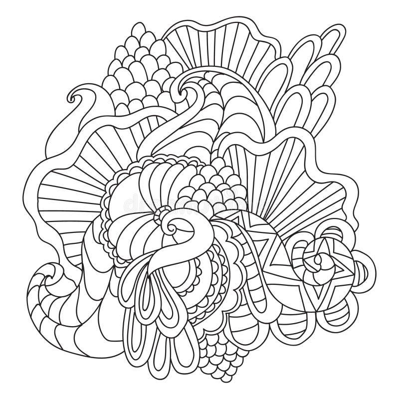Χρωματίζοντας σελίδες για τους ενηλίκους Διακοσμητικό συρμένο χέρι doodle διανυσματικό περιγραμματικό σχέδιο μπουκλών φύσης διακο διανυσματική απεικόνιση