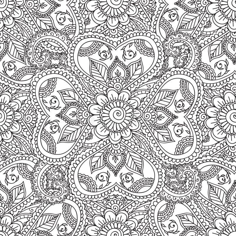 Χρωματίζοντας σελίδες για τους ενηλίκους Henna Seamles αφηρημένα Floral στοιχεία Mehndi Doodles διανυσματική απεικόνιση