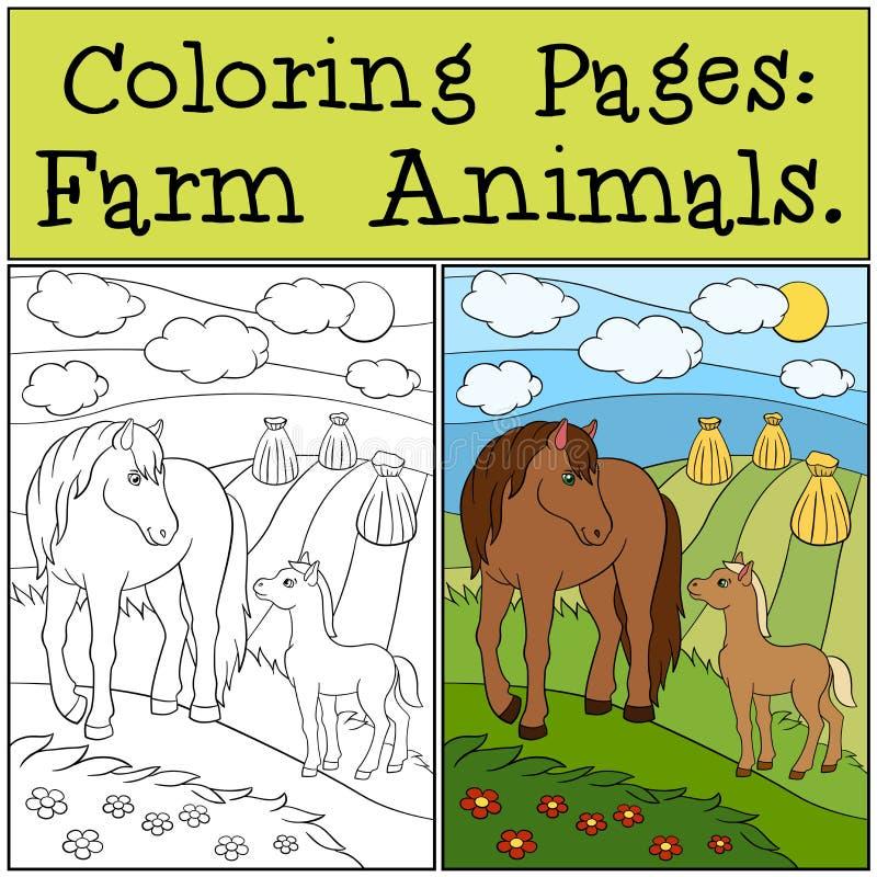Χρωματίζοντας σελίδες: Ζώα αγροκτημάτων foal η μητέρα αλόγων της ελεύθερη απεικόνιση δικαιώματος
