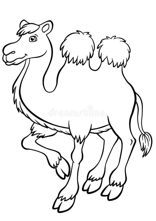 Χρωματίζοντας σελίδες Ζώα καμήλα χαριτωμένη ελεύθερη απεικόνιση δικαιώματος