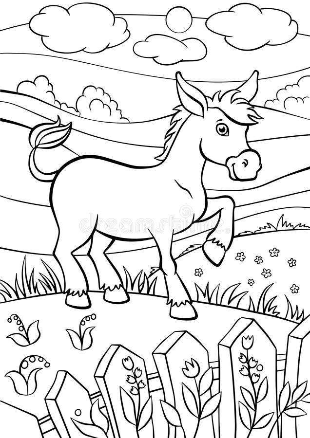 Χρωματίζοντας σελίδες Ζώα Λίγος χαριτωμένος γάιδαρος ελεύθερη απεικόνιση δικαιώματος