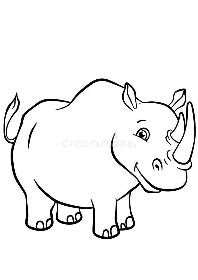 Χρωματίζοντας σελίδες Ζώα Χαριτωμένος ρινόκερος απεικόνιση αποθεμάτων