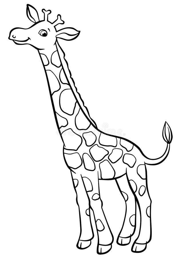 Χρωματίζοντας σελίδες Ζώα χαριτωμένο giraffe λίγα διανυσματική απεικόνιση