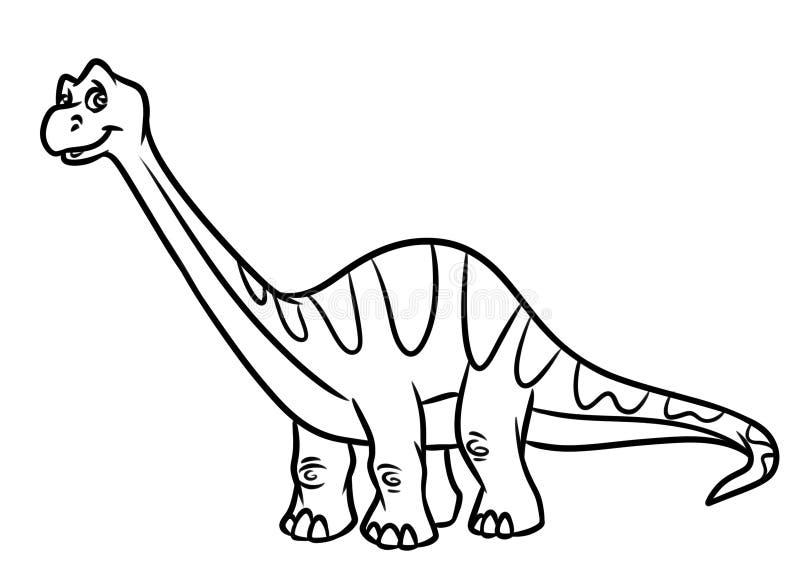 Χρωματίζοντας σελίδες ιουρασικής περιόδου δεινοσαύρων Diplodocus διανυσματική απεικόνιση