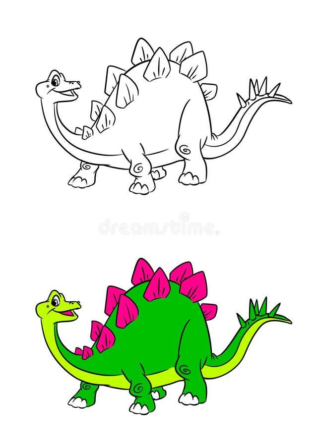 Χρωματίζοντας σελίδες κινούμενων σχεδίων δεινοσαύρων Stegosaurus διανυσματική απεικόνιση