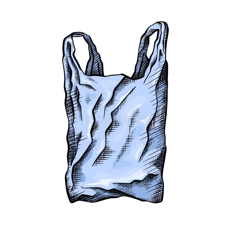 Χρωματίζοντας σχέδιο γραμμών μιας πλαστικής τσάντας r Το αντικείμενο είναι χωριστό από το υπόβαθρο Διανυσματική κακογραφία διανυσματική απεικόνιση