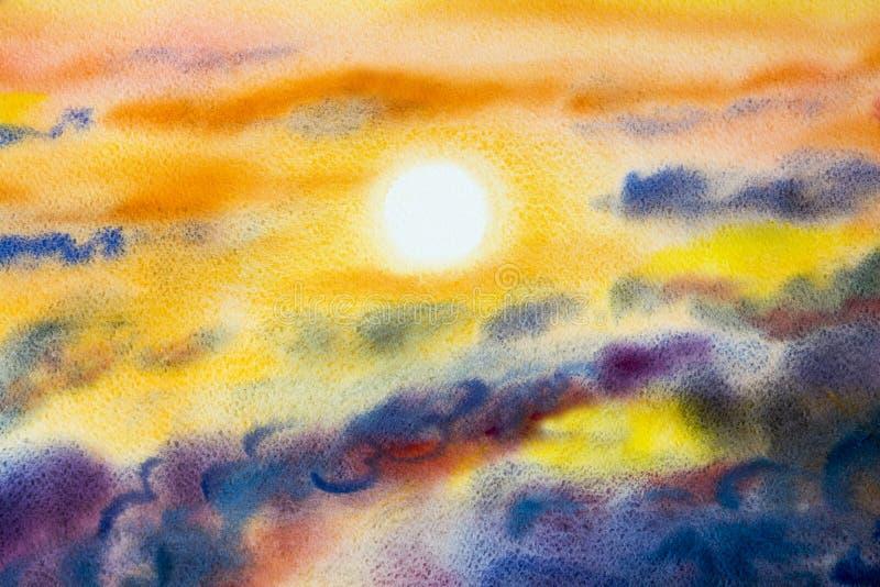 Χρωματίζοντας το τοπίο watercolor τέχνης ζωηρόχρωμο της ομορφιάς ήλιων στη φύση ελεύθερη απεικόνιση δικαιώματος