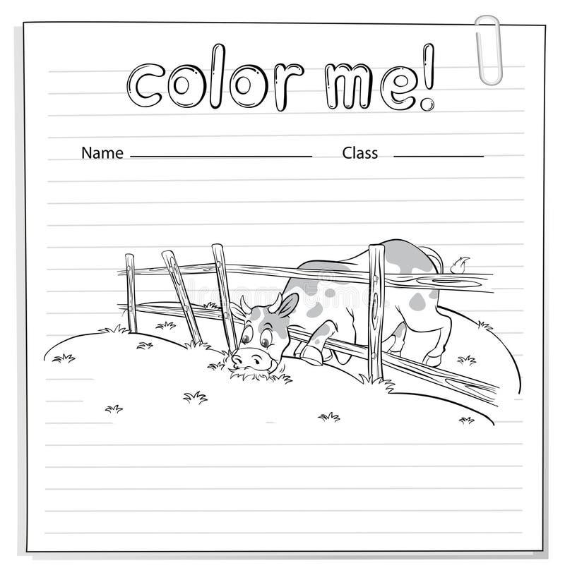 Χρωματίζοντας φύλλο εργασίας με μια αγελάδα ελεύθερη απεικόνιση δικαιώματος