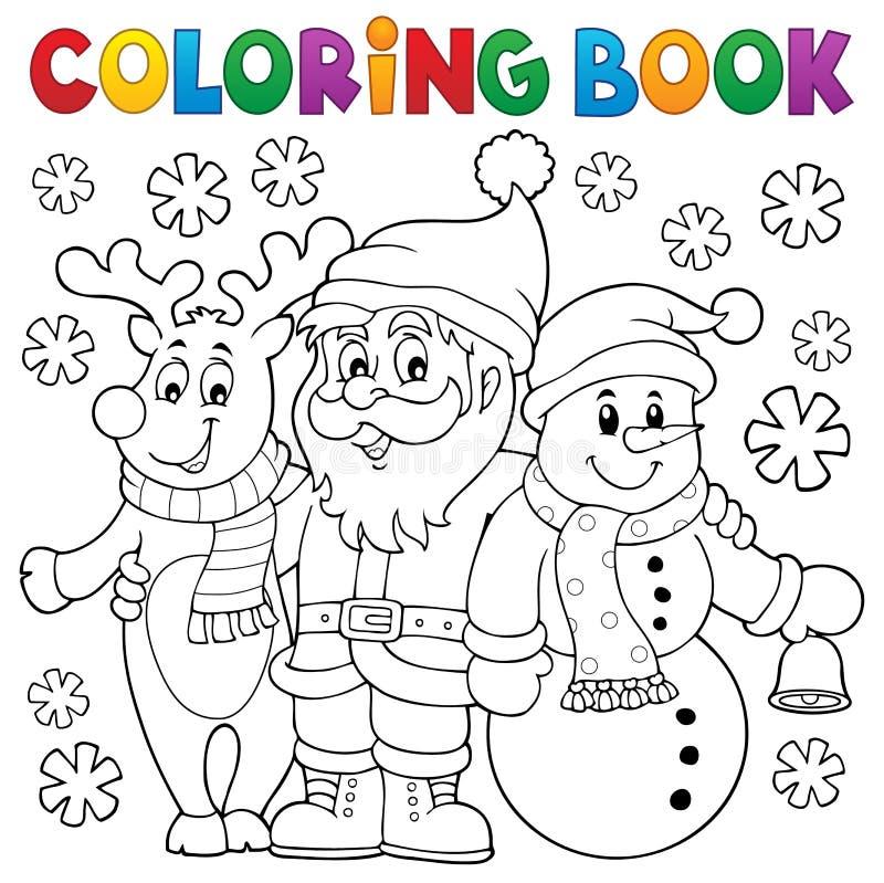 Χρωματίζοντας χαρακτήρες Χριστουγέννων βιβλίων ελεύθερη απεικόνιση δικαιώματος