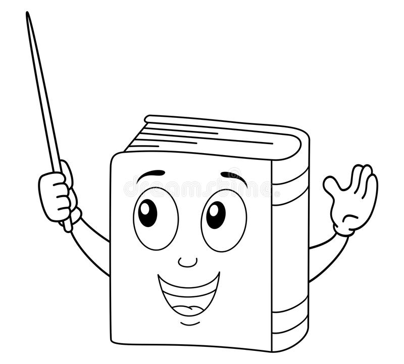 Χρωματίζοντας χαριτωμένος χαρακτήρας βιβλίων με το δείκτη ελεύθερη απεικόνιση δικαιώματος