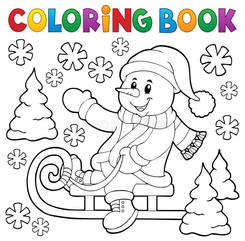Χρωματίζοντας χιονάνθρωπος βιβλίων στο θέμα 1 ελκήθρων απεικόνιση αποθεμάτων