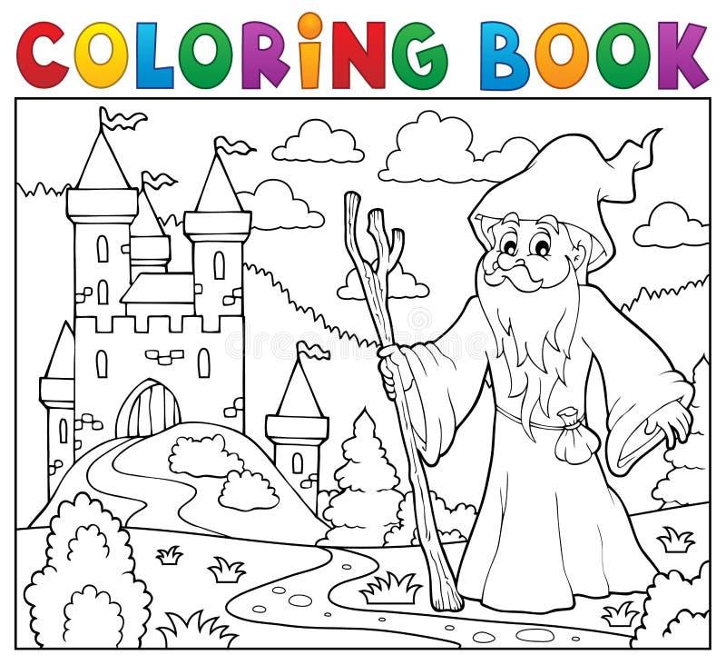 Χρωματίζοντας druid βιβλίων κοντά στο κάστρο διανυσματική απεικόνιση