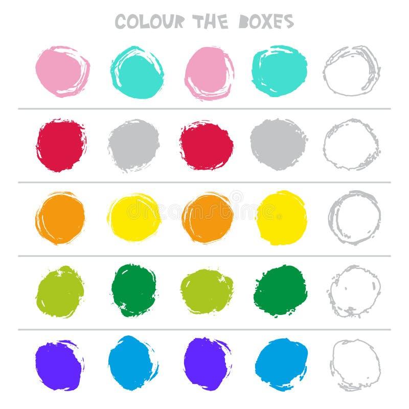 Χρωματίστε τα κιβώτια Εκπαιδευτικό παιχνίδι τι έρχεται έπειτα του μετρώντας παιχνιδιού εκπαίδευσης για τα προσχολικά παιδιά διάνυ διανυσματική απεικόνιση