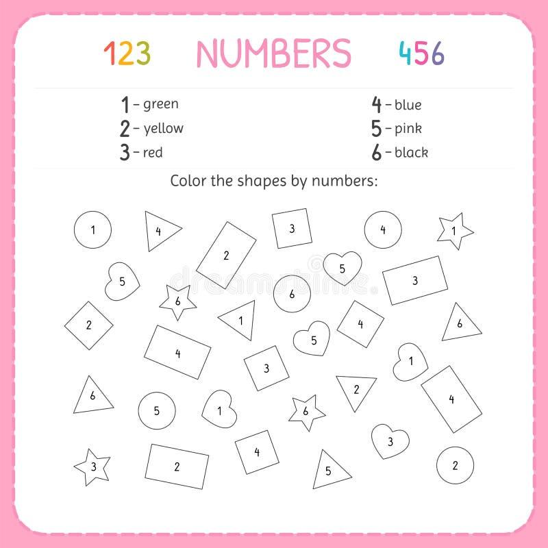 Χρωματίστε τις μορφές από τους αριθμούς Φύλλο εργασίας για τον παιδικό σταθμό και τον παιδικό σταθμό Κατάρτιση να γραφτούν και να απεικόνιση αποθεμάτων