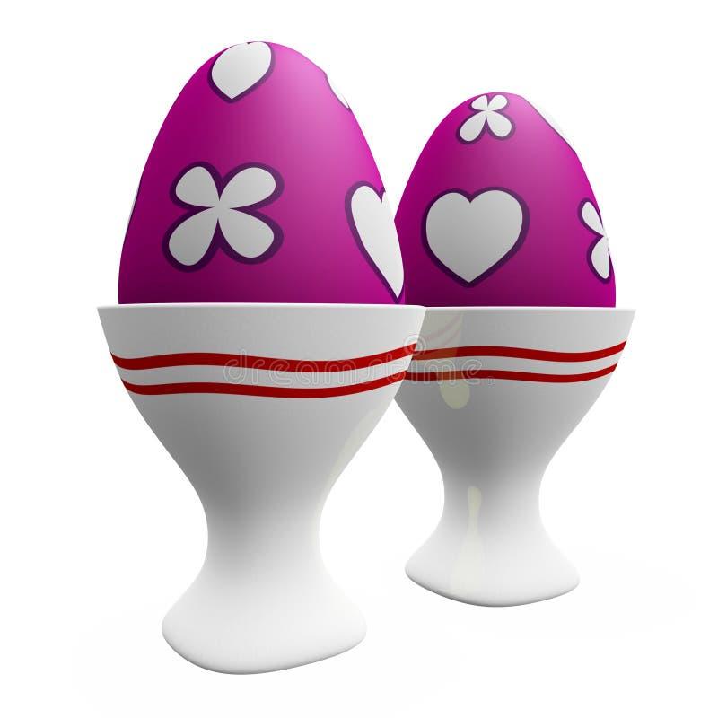Χρωματισμένα αυγά Πάσχας στα κεραμικά φλυτζάνια άσπρων αυγών διανυσματική απεικόνιση