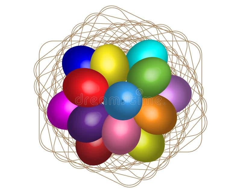 Χρωματισμένα αυγά Πάσχας στις πετσέτες διανυσματική απεικόνιση