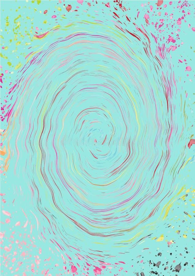 Χρωματισμένα αφηρημένα σπειροειδή λωρίδες των παφλασμών χρωμάτων στο μπλε σκηνικό μεντών απεικόνιση αποθεμάτων