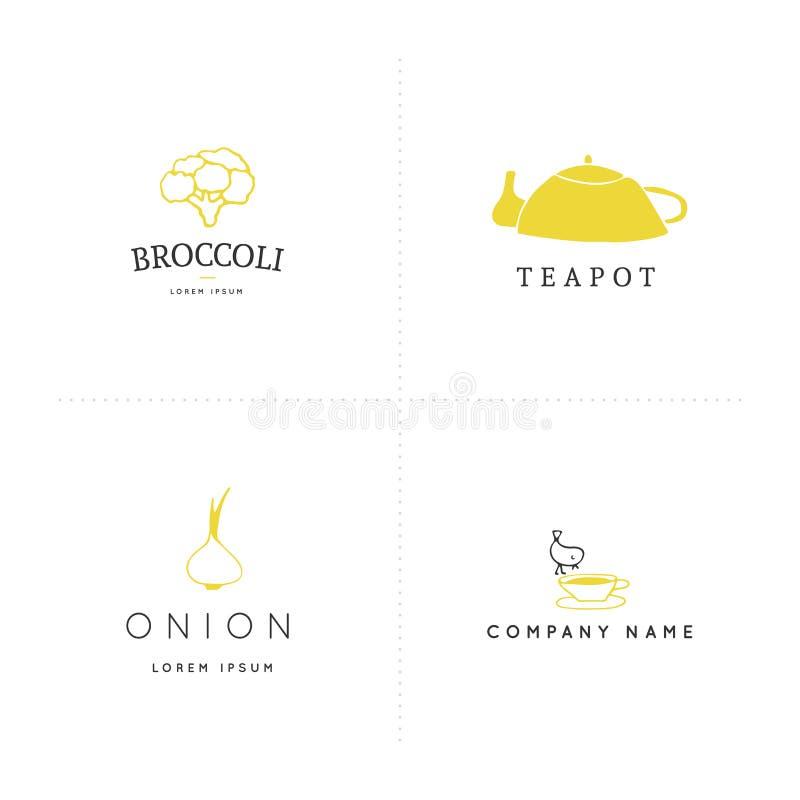 Χρωματισμένα διάνυσμα συρμένα χέρι αντικείμενα Πρότυπα λογότυπων κουζινών καθορισμένα απεικόνιση αποθεμάτων