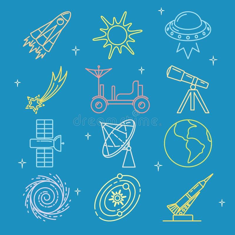 Χρωματισμένα διαστημικά εικονίδια που τίθενται στο λεπτό ύφος γραμμών διανυσματική απεικόνιση