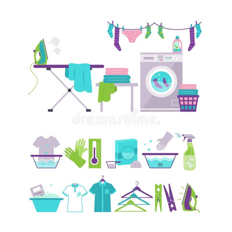 Χρωματισμένα εικονίδια πλύσης και πλυντηρίων στο επίπεδο ύφος απεικόνιση αποθεμάτων