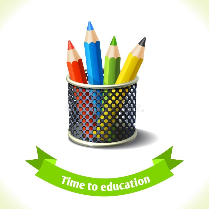 Χρωματισμένα εικονίδιο μολύβια εκπαίδευσης ελεύθερη απεικόνιση δικαιώματος