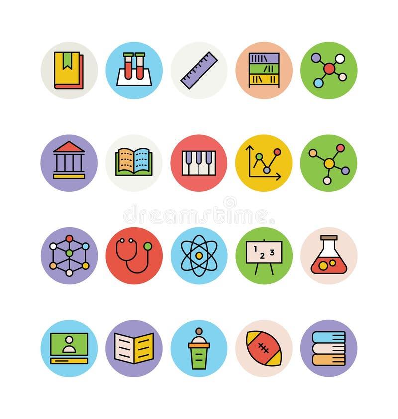 Χρωματισμένα εκπαίδευση διανυσματικά εικονίδια 1 απεικόνιση αποθεμάτων