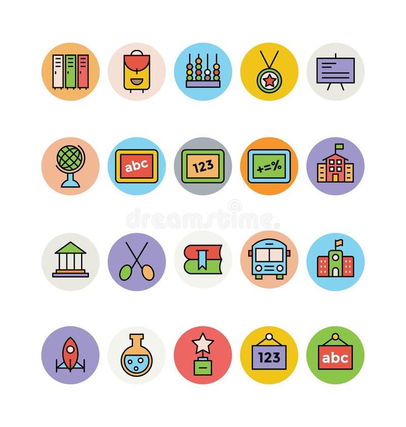 Χρωματισμένα εκπαίδευση διανυσματικά εικονίδια 12 ελεύθερη απεικόνιση δικαιώματος