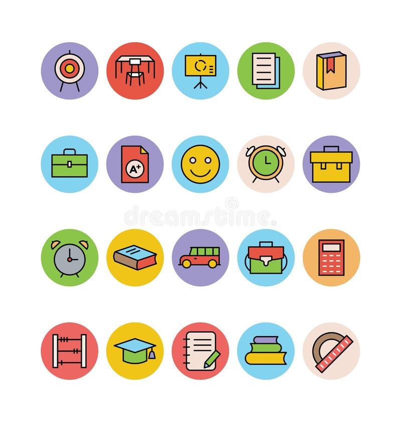Χρωματισμένα εκπαίδευση διανυσματικά εικονίδια 11 ελεύθερη απεικόνιση δικαιώματος