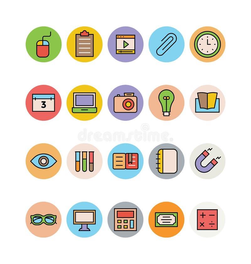 Χρωματισμένα εκπαίδευση διανυσματικά εικονίδια 14 διανυσματική απεικόνιση