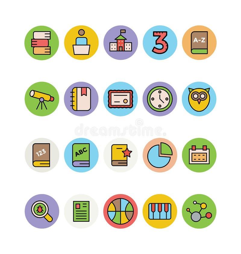 Χρωματισμένα εκπαίδευση διανυσματικά εικονίδια 16 απεικόνιση αποθεμάτων
