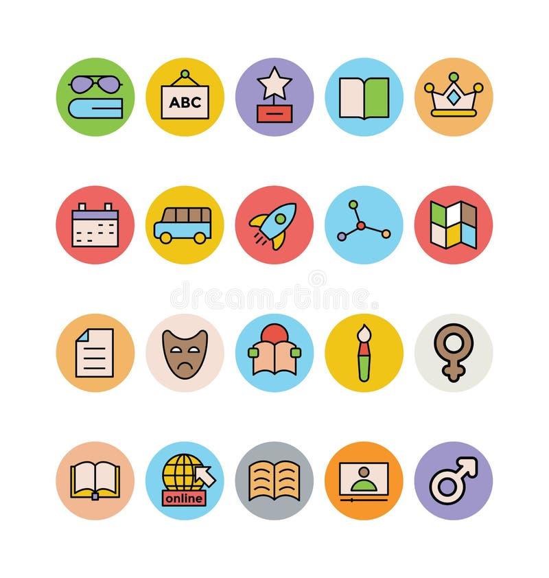 Χρωματισμένα εκπαίδευση διανυσματικά εικονίδια 8 ελεύθερη απεικόνιση δικαιώματος