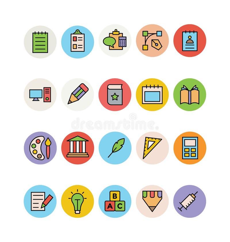 Χρωματισμένα εκπαίδευση διανυσματικά εικονίδια 1 ελεύθερη απεικόνιση δικαιώματος