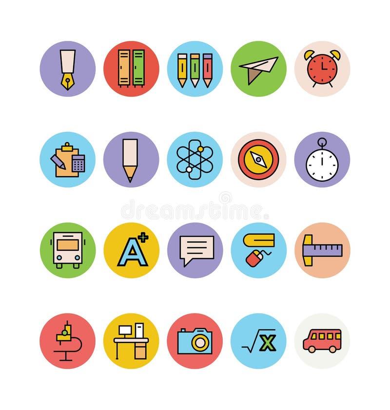 Χρωματισμένα εκπαίδευση διανυσματικά εικονίδια 5 απεικόνιση αποθεμάτων