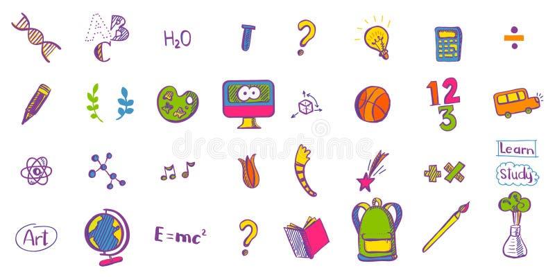 Χρωματισμένα εκπαίδευση doodle εικονίδια ελεύθερη απεικόνιση δικαιώματος