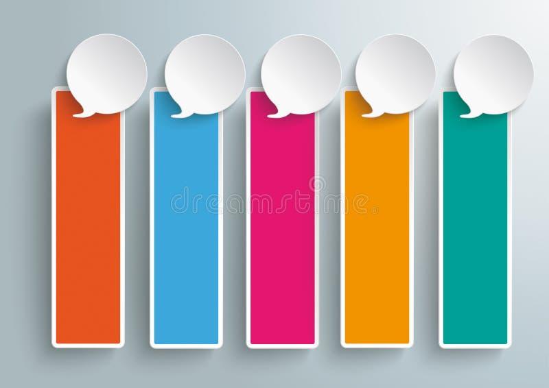 5 χρωματισμένα εμβλήματα PiAd λεκτικών φυσαλίδων διανυσματική απεικόνιση
