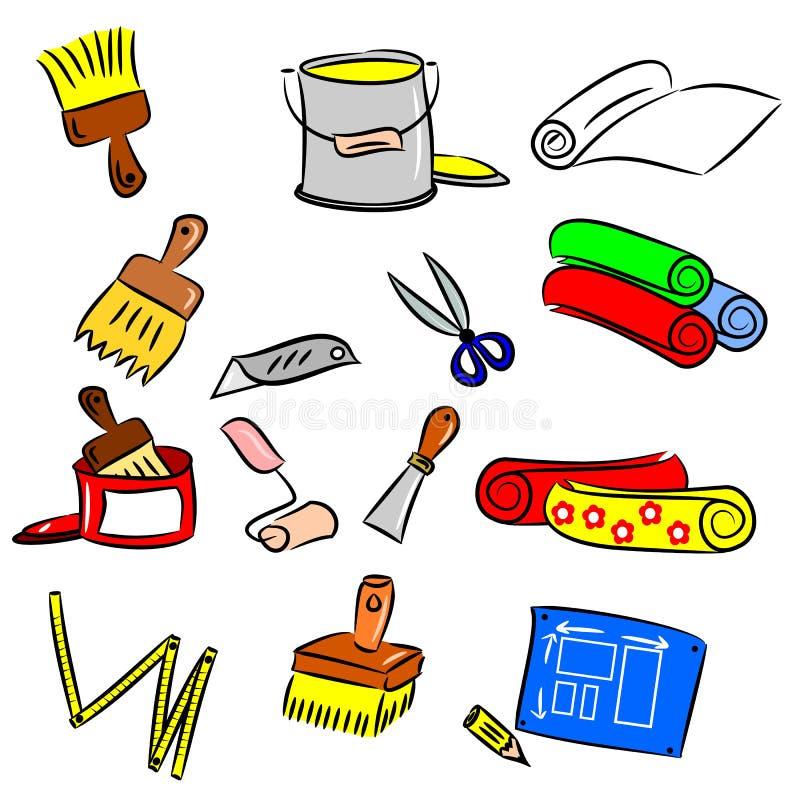 Χρωματισμένα εργαλεία κινούμενων σχεδίων DIY απεικόνιση αποθεμάτων