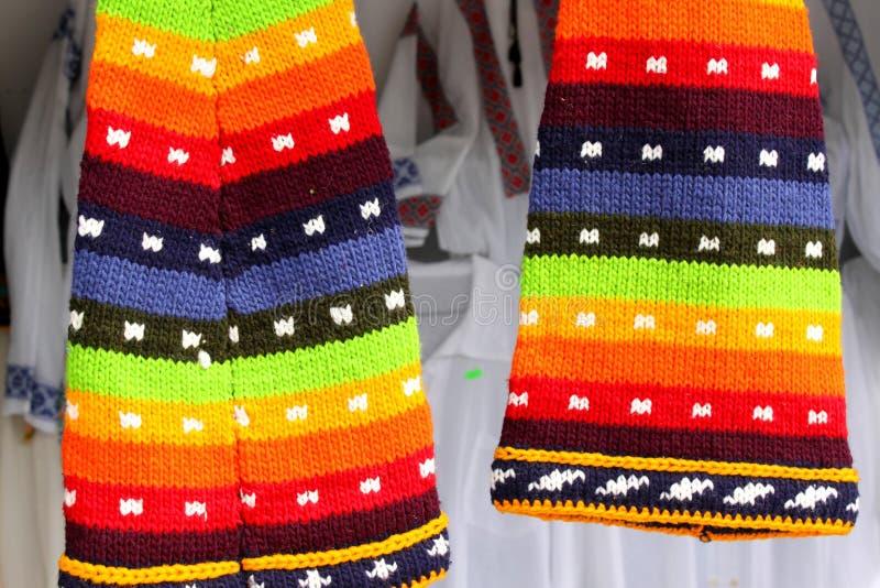 Χρωματισμένα καπέλα μαλλιού Στοκ Φωτογραφία