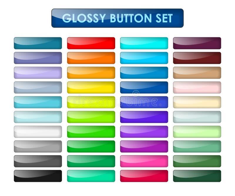 Χρωματισμένα κουμπιά Ιστού καθορισμένα διανυσματική απεικόνιση