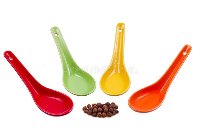 Χρωματισμένα κουτάλια στοκ εικόνες